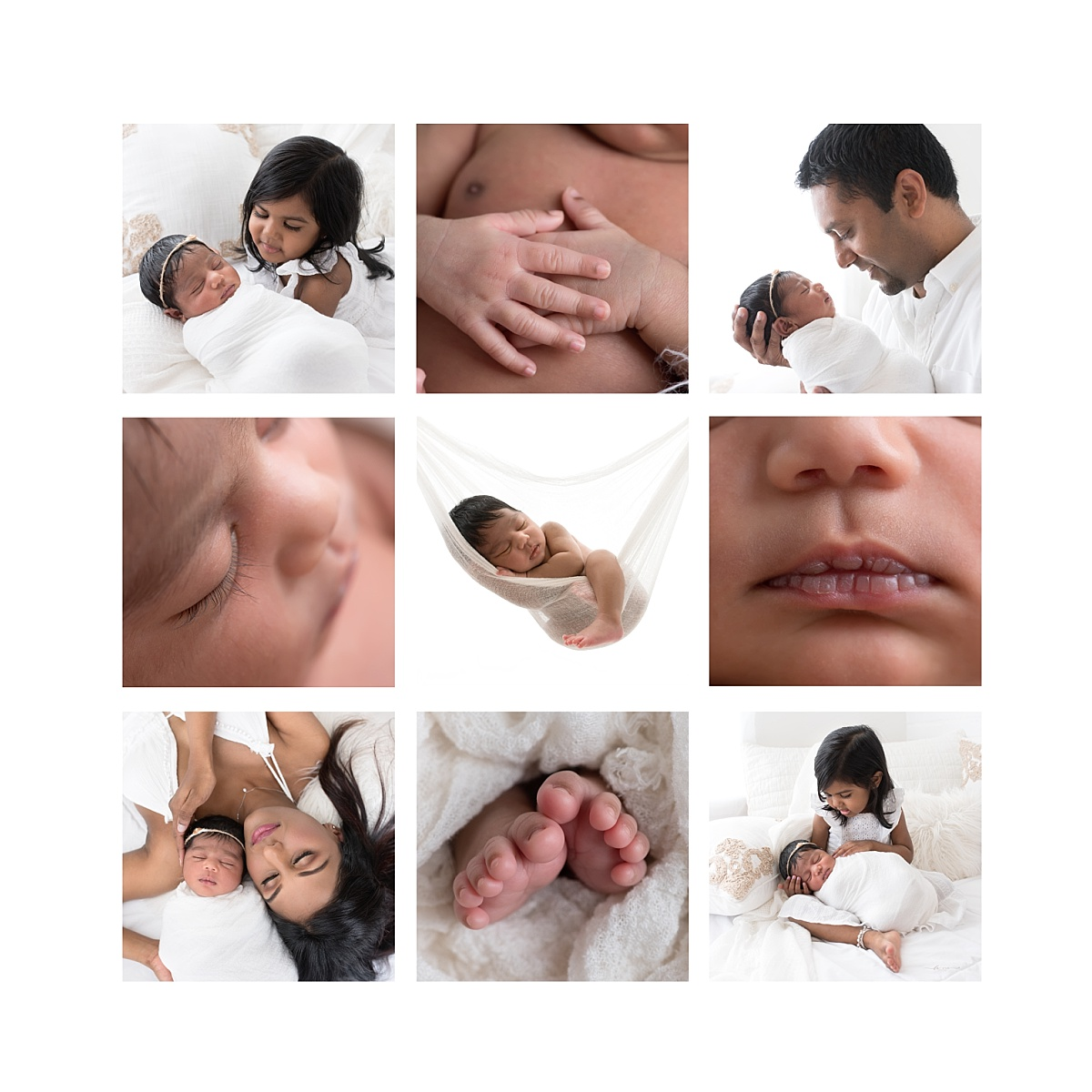 Nine image collage of newborn details with family images