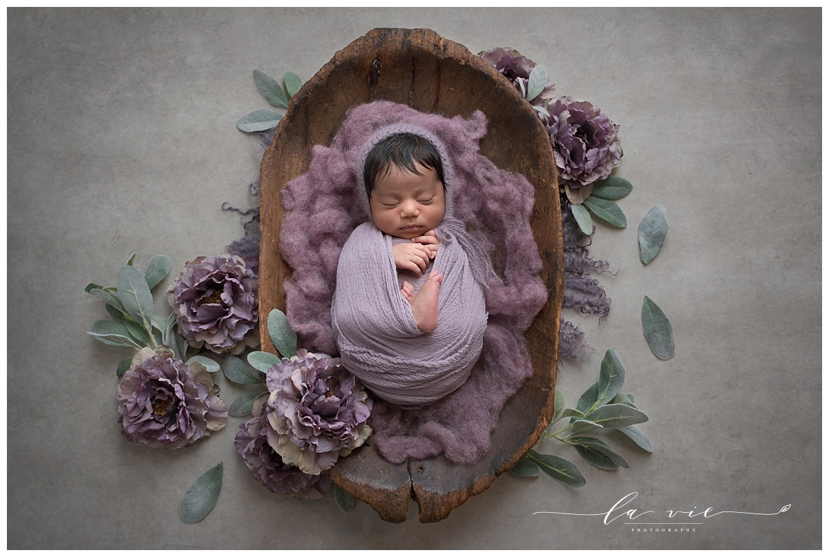 Fine art newborn portrait with organic florals and wood by Houston Newborn Photographer La Vie Photography