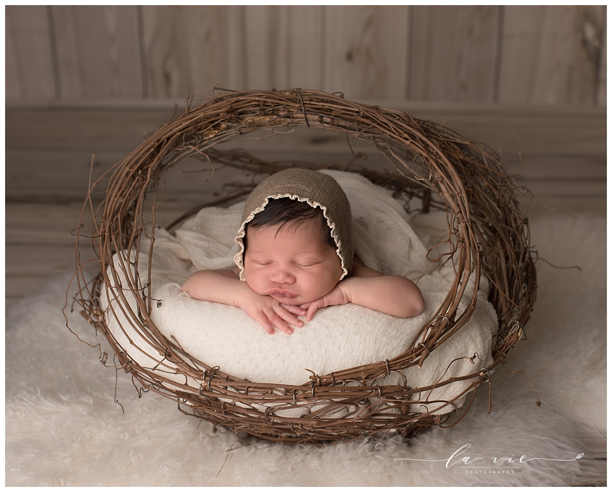 newborn baby girl posed in willow basket