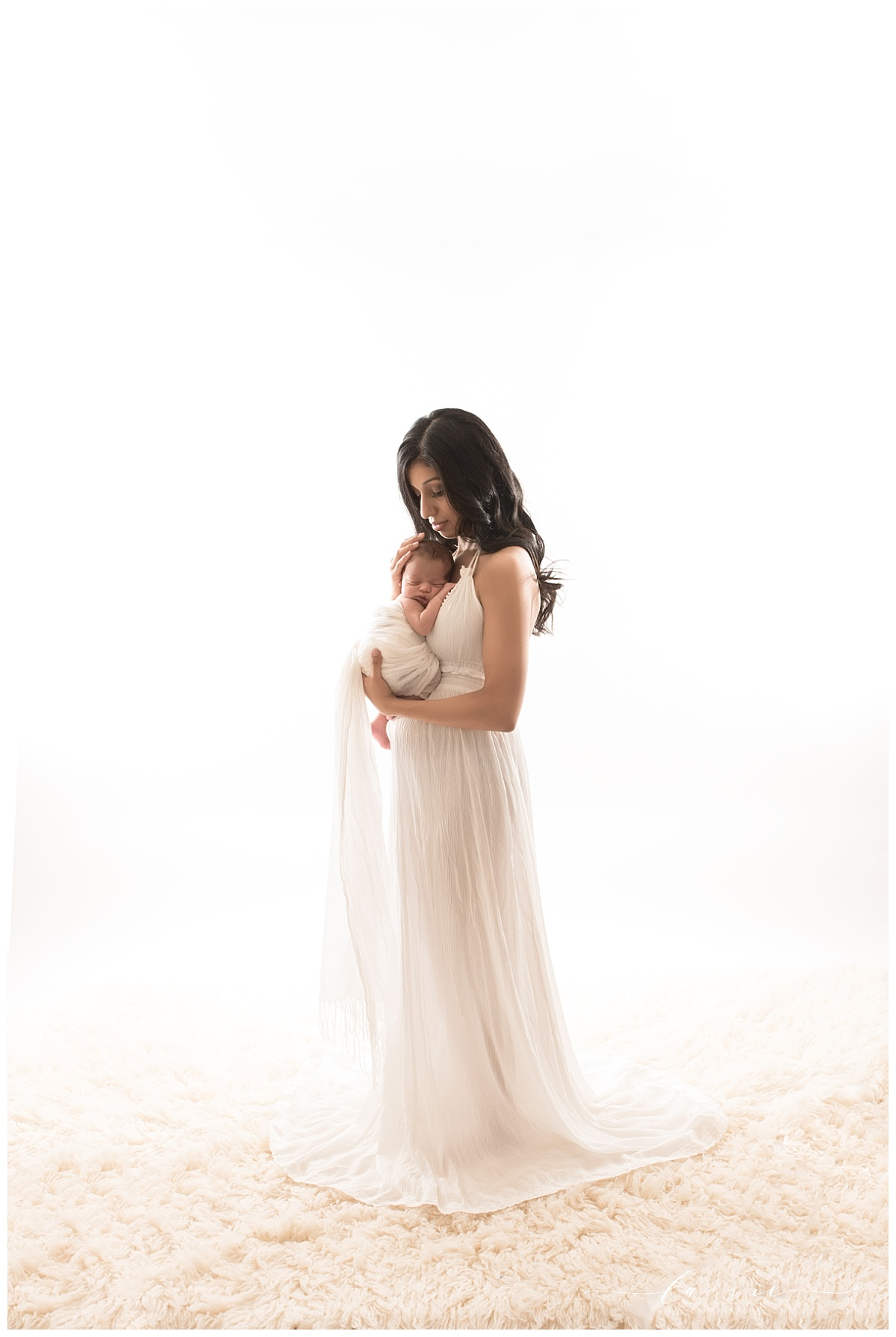 Ethereal mom and baby newborn portrait